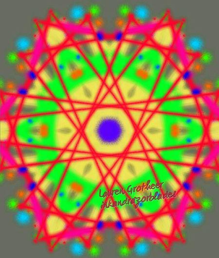Catscradle ArtWork Neon Kaleidoscopic Digital Art Graphic Colorful Fun Trippy