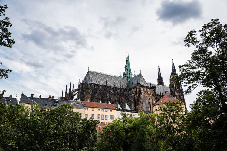 Cathedral of St. Vitus in Prague against sky Cathedral St. Vitus Cathedral Architecture Belief Building Building Exterior Built Structure Cloud - Sky Day History Low Angle View Nature No People Outdoors Place Of Worship Plant Prague Castle Religion Sky Spire  Spirituality Travel Destinations Tree