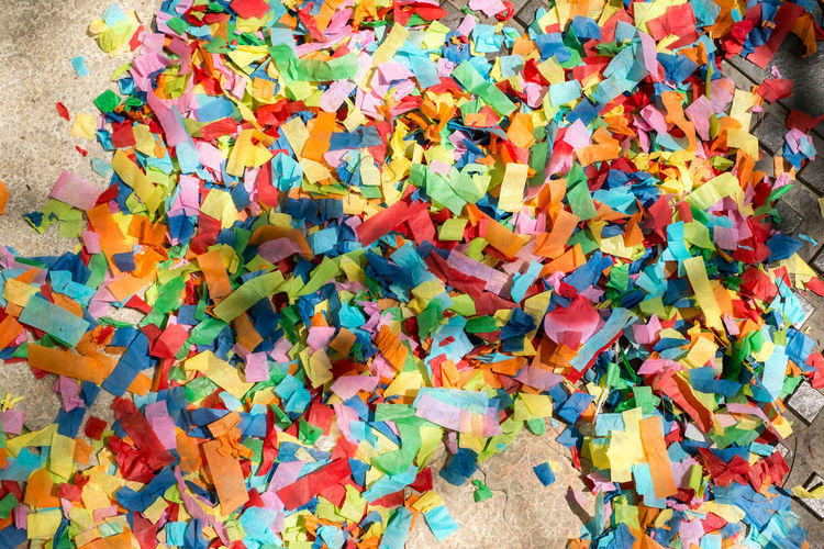 festive colorful confetti Festive Colorful Confetti Festive Confetti Multi Colored Large Group Of Objects High Angle View Abundance No People Full Frame Still Life Indoors  Backgrounds Day Variation Messy Close-up Orange Color Choice Food And Drink Leaf Plant Part Heap Leaves Excess
