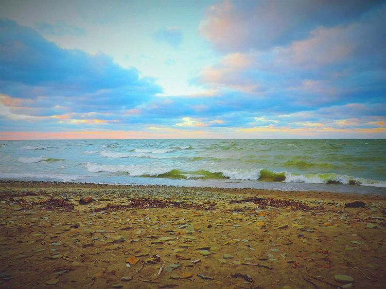 Beach Sea Sand Horizon Over Water Sunset Cloud - Sky Outdoors Sky Beauty In Nature Landscape No People Nature Scenics Summer Dramatic Sky Postcard Day Beach Photography Waterfront Lakeview Beauty In Nature Tranquility Nature Lake Erie Dramatic Sky