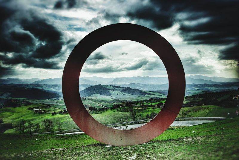 Better Look Twice focus on tuscany landscape near Volterra, Italy Tuscany Italy Landscape Hillside Focus Metal Sculpture Early Spring Cloudy