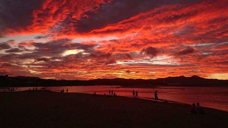 Sunset Sky Sea Beach Outdoors No Filter, No Edit, Just Photography Taiwan Formosa Before Typhoon Nature Landscape Beauty In Nature Vacations Silhouette Water Scenics Red Mountain People Day