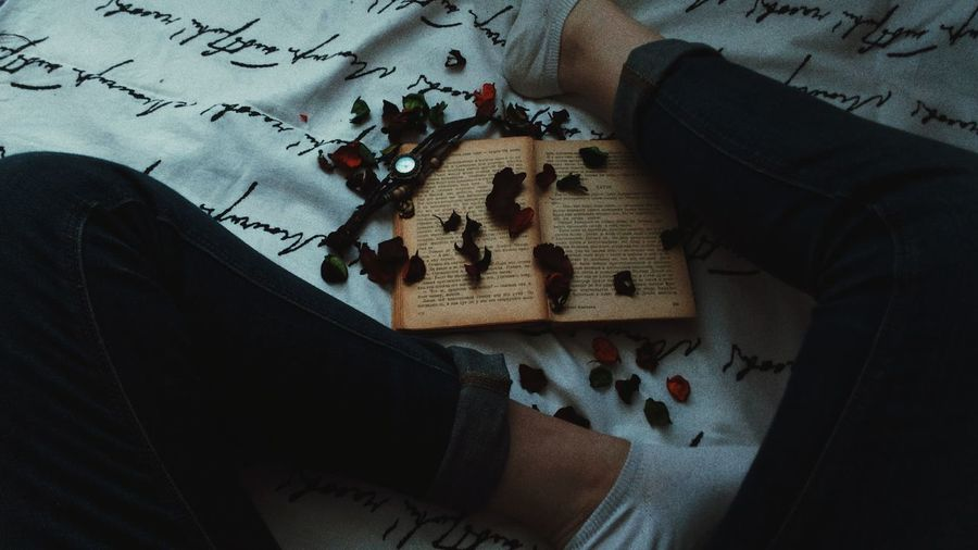 Low Section Of Person With Rose Petals And Open Book Sitting On Bed