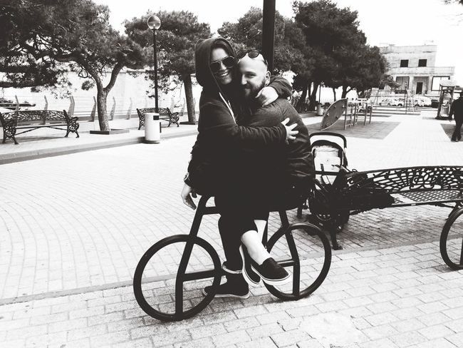 Blackandwhite Smiling Happy Day Summer Holiday SO FUN Hello World Enjoying Life Summertime You And Me Love Husband Bicycle Togetherness Love Transportation Two People Positive Emotion #urbanana: The Urban Playground