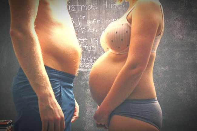 Pregnancy Bellies Love Baby On The Way Wife Couple Victoria Secret Bra Husband & Wife Baby