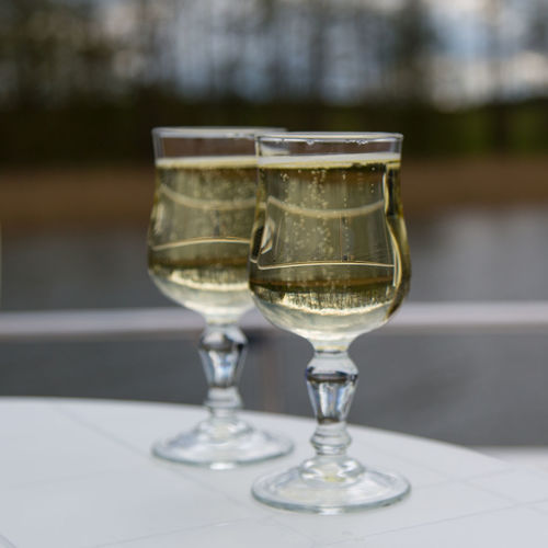 Champagne In Glasses On Table