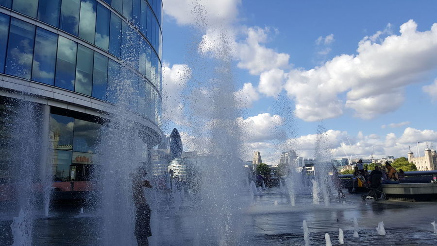 Beautiful sky and fountain in London Architecture City Cloud - Sky Day Nature People Real People Sky Water Waterfront