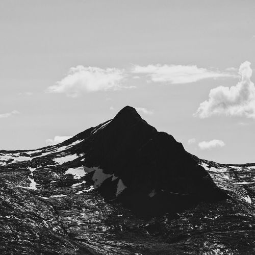 Black peak. Mountain Nature Sky Tranquility Beauty In Nature Outdoors Scenics Cloud - Sky Day Landscape No People Norway Syvsøstre Nordland Blackandwhite