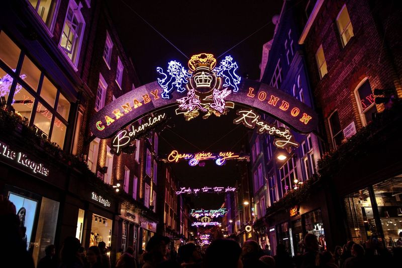 Carnaby Illuminated Decoration Night Low Angle View Architecture Celebration Built Structure No People Building Exterior Christmas Christmas Lights Holiday Lighting Equipment Glowing Multi Colored Hanging Christmas Ornament Event Light Christmas Decoration