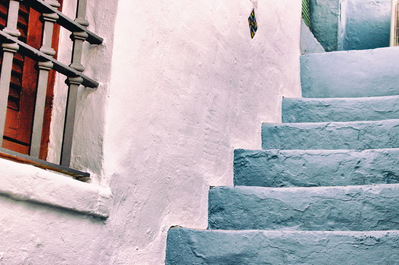 Low angle view of steps outside house