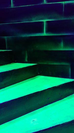 Stairs Staircase Stairway Green Green Green Green!  Greepy Halloween Black Light Illuminated Close-up Green Color