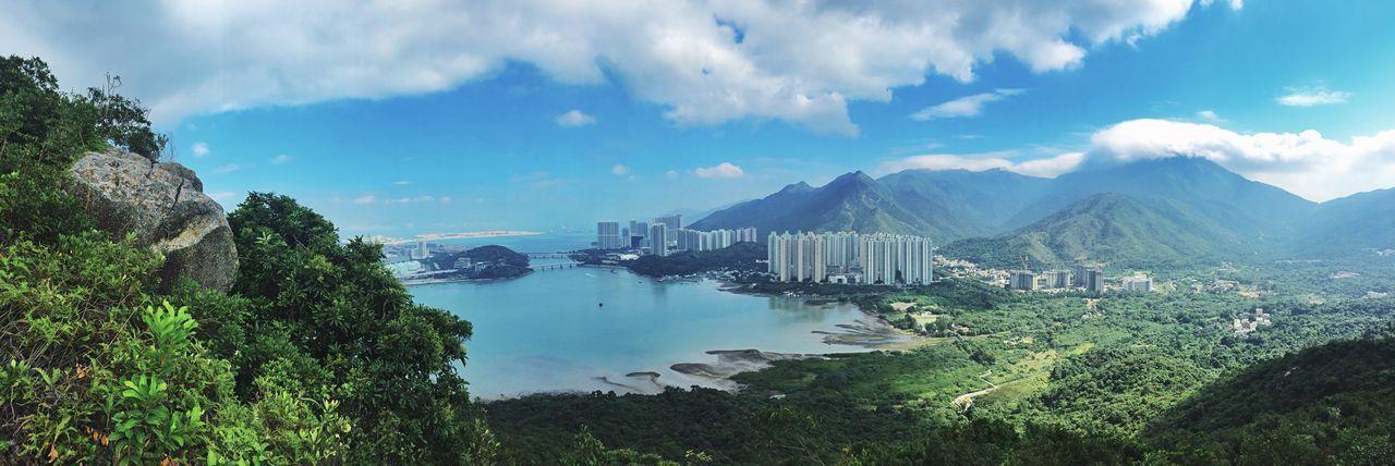 Panoramic view of lantau island against sky at tung chung