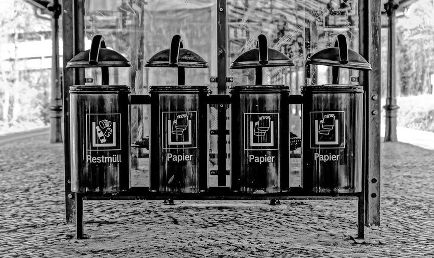 Dust bins on railroad station