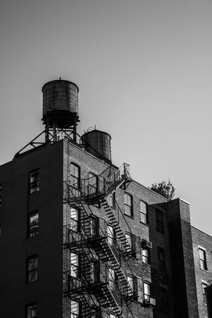 Architecture Building Exterior Built Structure Day Fireescape Low Angle View Manhattan Newyork Newyorkcity No People Outdoors Roof Water Tower - Storage Tank