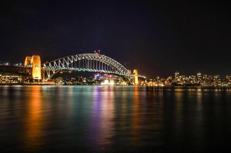 Sydney Harbour Bridge Against Sky At Night