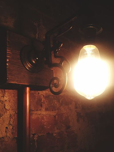 Light And Shadow Light Night Lights Lighting Bulb Brick Wall Brick