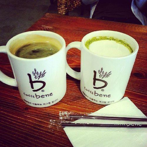 Caffebene Americano Latte Greentealatte coffee Monday Korean Beijing lunch date friend wangjing