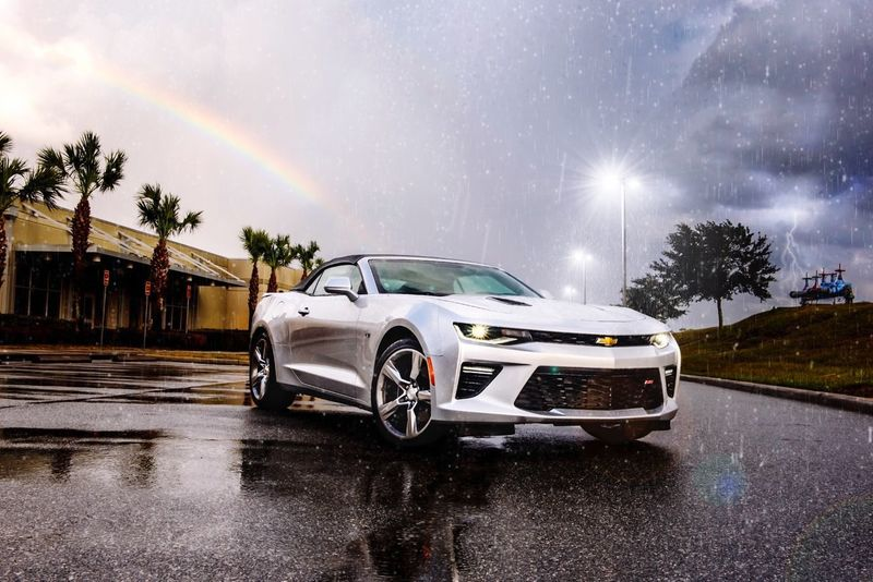 Car Weather Transportation Land Vehicle Motion Night Sky No People Nature Outdoors Tree Rainbow Lightning Storm Camero Sports Car Rain Automobile Convertible Dramatic Sky Commercial Kris Slater EyeEm