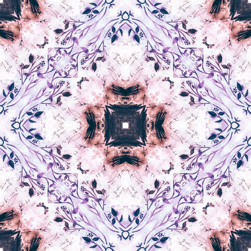 Digital composite image of flower and ceiling