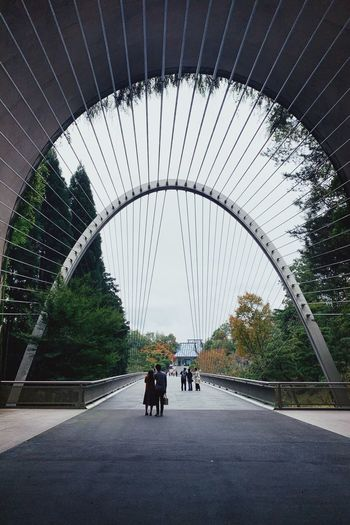 Rear view of people riding motorcycle on bridge