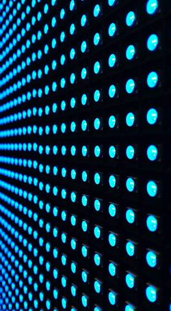 Backgrounds Technology Pattern Abstract Blue Data Liquid-crystal Display Vibrant Color LED Glowing Electronics Industry Spotted Electrical Equipment Defocused Futuristic Led Lights  Led Wall