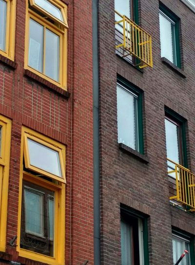 No People Building Window Windows Balcony Colors Yellow Red Green Architecture Building Exterior Modern Lines And Shapes Lines&Design Straight Lines Middle Line Day EyeEmNewHere Close-up Groningen Netherlands Nederland