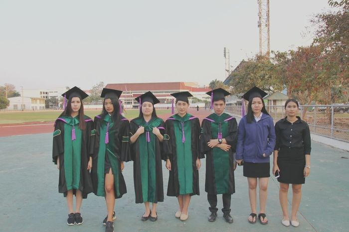 Congratulations University Chiangmai Thailand Maejo University Teamwork Full Length Standing Unity Medium Group Of People Togetherness People Skill  Friendship Men Confidence  Smiling Cooperation Adult Outdoors Day Young Adult Adults Only