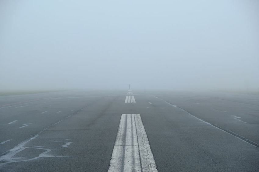 Alone Alone Time Berlin Photography Berlin Tempelhof Endless Forward Tempelhofer Feld Airfield Airfield Tempelhof Airport Airport Runway Asphalt Endless Road Fog Foggy Day Highway Runway Street Marking Street Sign Tempelhofer Freiheit Traffic Sign Transportation Walking Way Forward Weather Shades Of Winter