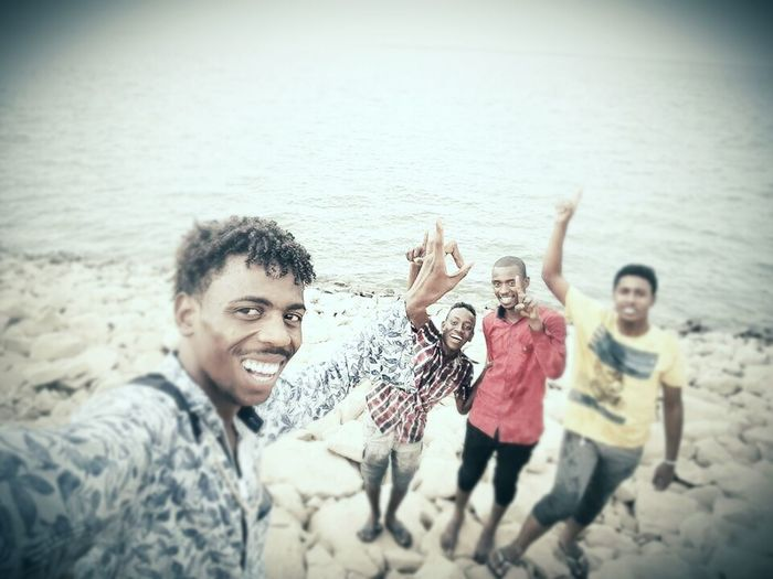 Friendship Photo Messaging Young Women Selfie Men Smiling Sea Photography Themes Togetherness Water First Eyeem Photo