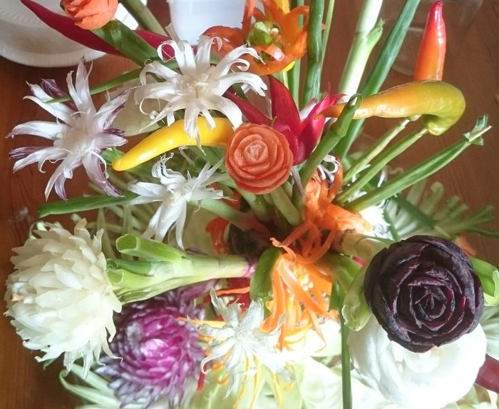 Carved Vegetable Vegetables Handmade not by me Colours Bouquet Artistic