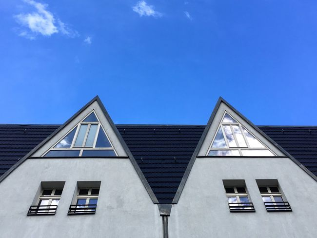 Architecture Built Structure Building Exterior Window Blue Day House No People Low Angle View Outdoors Roof Sky Geometry IPhoneography Minimalism Lines And Shapes Tiled Roof  Triangle Shape Triangle
