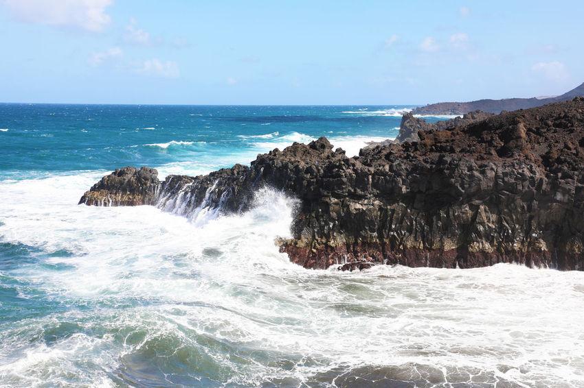 Los Hervideros, Lanzarote Lanzarote Salinas Waving Blue Sky Los Hervideros Nature Rocks And Water Signboard Water Waterfront Waves