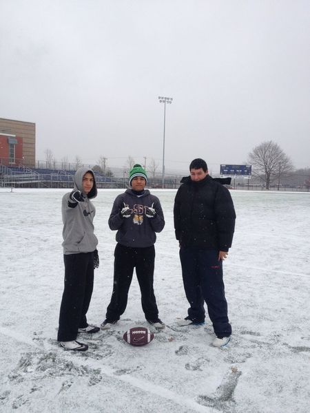 Football during a blizzard? Yup we bout' it