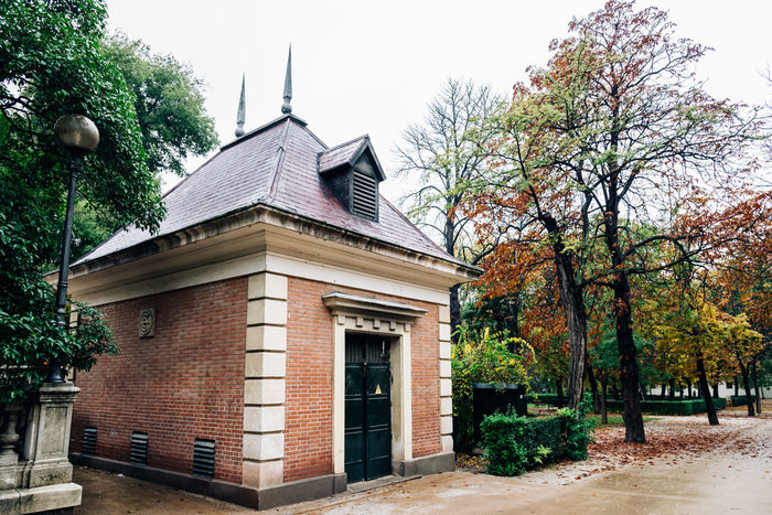 Old Pavilion in the Park of Buen Retiro in Madrid Architecture Architecture Autumn Autumn Colors Brick Building Exterior Built Structure Classical Day Detail European  House Madrid No People Old Outdoors Park Pavilion Retiro Retiro Park Roof Sky Tree Trees Winter