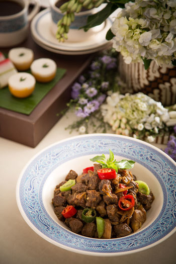 High angle view of lombok kethok served on table