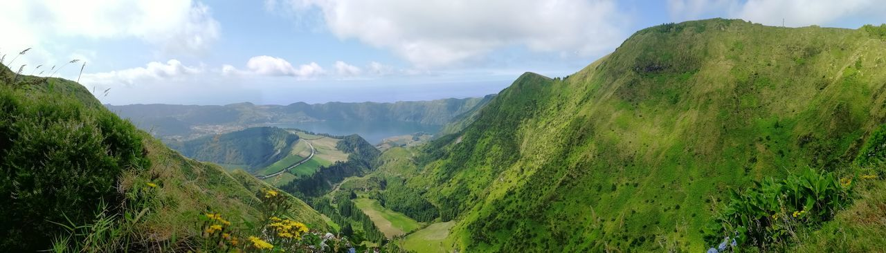 Panorama Hiking Wandern Azores Azoren Trail Fun Landscape EyeEm Best Shots EyeEm Nature Lover Sightseeing View Landschaft Panorama Atlantic Ocean Volcano Hills And Valleys Green Meadow Sky And Clouds Beauty In Nature Sao Miguel- Azores Tourism Tree Mountain Tree Area Forest Fog Beauty Mountain Peak Panoramic