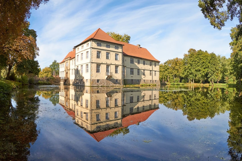 Water Castle Castle Architecture Building Building Exterior Built Structure Cloud - Sky Day History Lake Nature No People Outdoors Plant Reflection Sky The Past Travel Destinations Tree Water Water Castle Waterfront