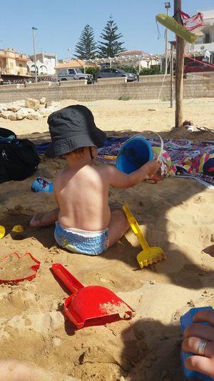 Italy Cava D'aliga Beach Child Playing Strand Sand Summer Estate Kind Spielzeug Bambino Sun