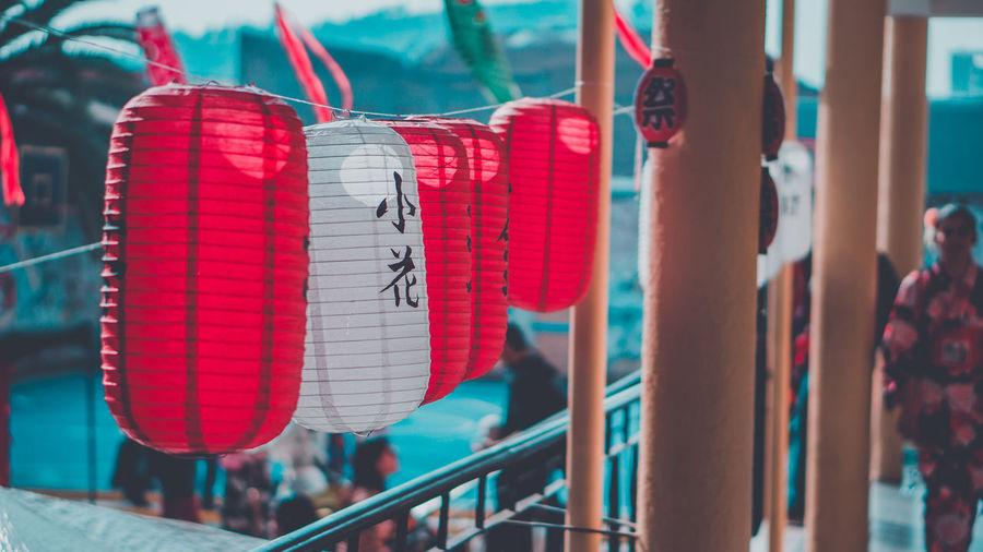 Close-up of lanterns hanging
