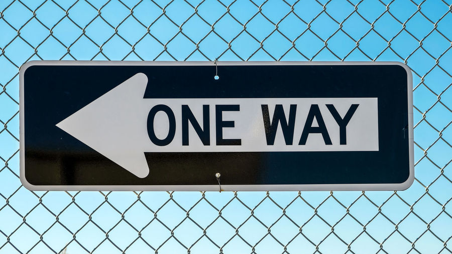 One way sign on