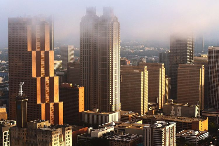 A foggy Atlanta sunrise Skyscraper Cityscape City Architecture Building Exterior Urban Skyline Built Structure Modern Downtown District Travel Destinations City Life Outdoors Aerial View Day Sky Atlanta, Georgia Aviationphotography Tower Tall - High Scenics Skyline ATL Aerialview Aviation Photography Modern