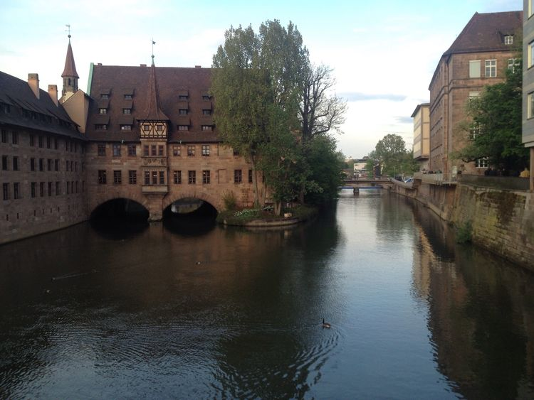 Heilig Geist Spital Nürnberg Your Ticket To Europe Been There. Bavarian City Innenstadt No Pepole River Pegnitz