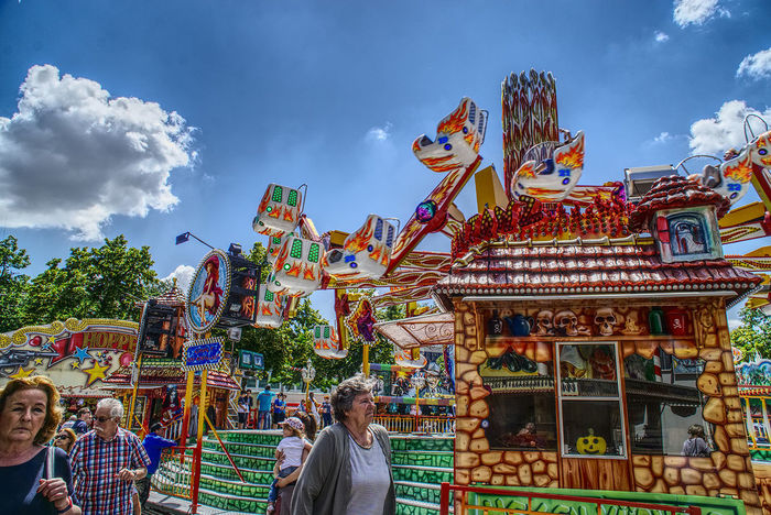Architecture Building Exterior Built Structure Cloud - Sky Day Kermis Kirmes Large Group Of People Leisure Activity Lifestyles Men Multi Colored Outdoors People Pfingsten Real People Sky Women