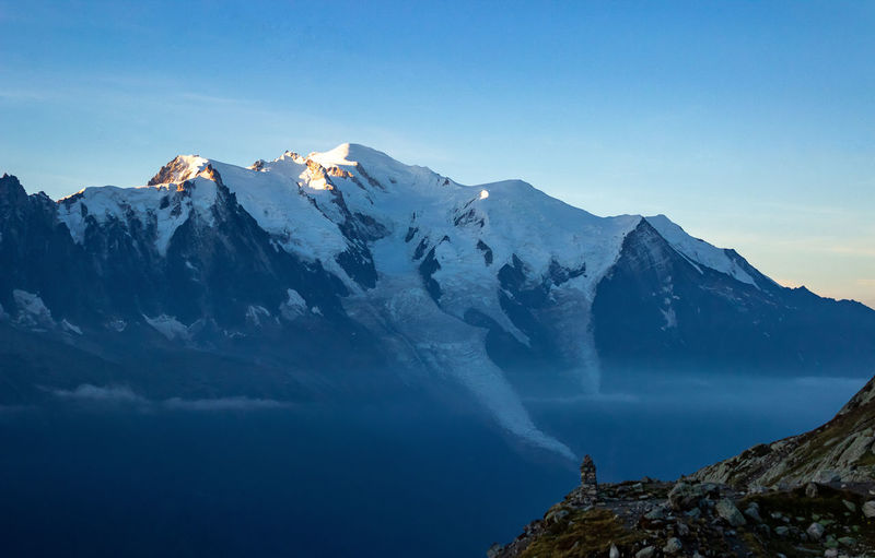 Scenic view of mont blanc against morning sky