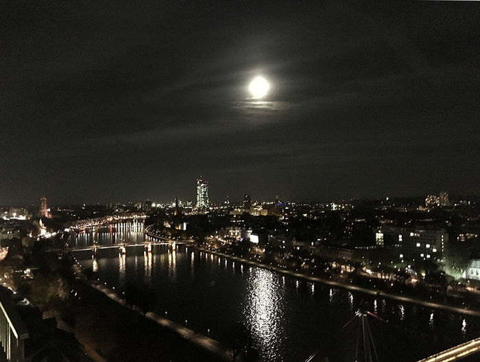 Full moon over Frankfurt am Main Architecture Beauty In Nature Building Exterior Built Structure City Cityscape Frankfurt Am Main Frankfurt By Night Frankfurt Skyline Full Moon 🌕 Illuminated Moon Nature Night No People Outdoors River Main By Night Sky Travel Destinations Water