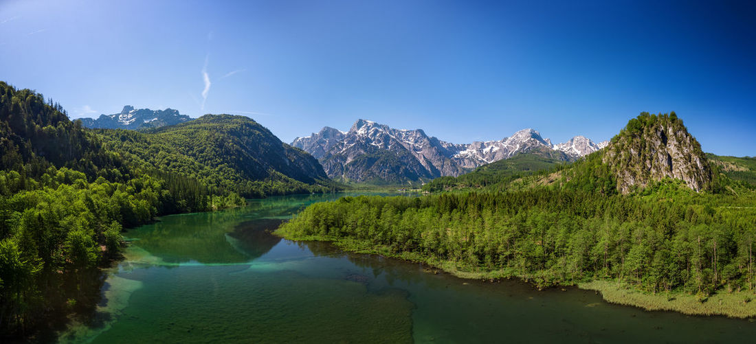 Grünau Almtal Salzkammergut Austria Lake Flightview Blue Green Color Forest Trees And Nature Mountains Alps Austria Panorama Bright Colors Bright Day Water Clear Sky Almsee