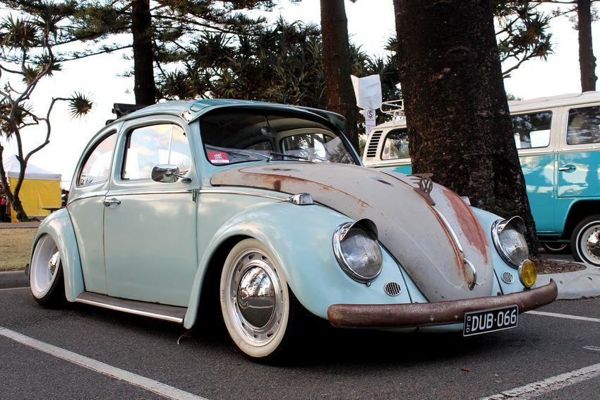 Cooly Rocks On 🤘🏼 Lowered 50's Style Retro Cool Coolyrockson Old Rust Tree Beach Blue VW Beetle VW Mode Of Transportation Transportation Motor Vehicle Car Land Vehicle Tree Street