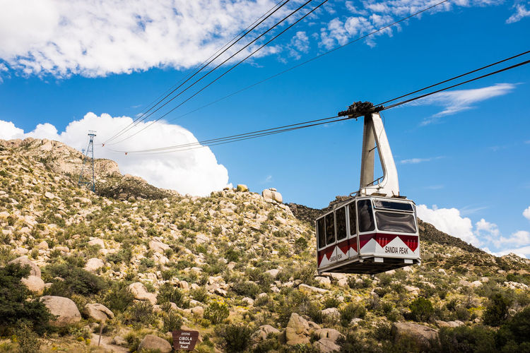 Albuquerque Cable Cable Car Cloud - Sky Day Electricity Pylon Gondola Low Angle View Mode Of Transport Nature New Mexico No People Outdoors Overhead Cable Car Power Line  Sandia Mountains Sandia Peak Ski Lift Sky Tramway