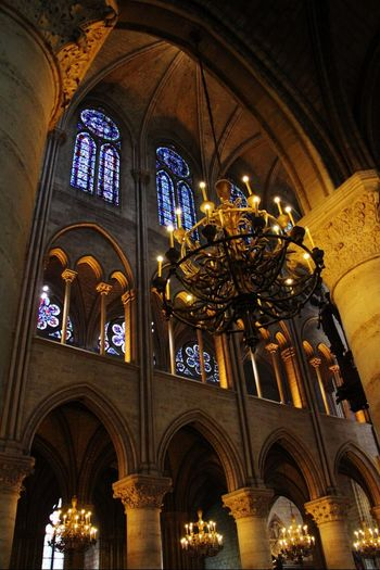 Arch Low Angle View Architecture Window Religion Built Structure Indoors  Church Spirituality Place Of Worship Ceiling Stained Glass Architectural Feature Arched History Majestic Day National Landmark Gothic Style Interior Notre-Dame Notre Dame De Paris Notre Dame Cathedral