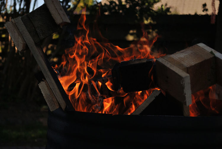 Close-up of fire pit